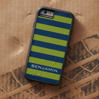 Navy Blue and Lime Green Rugby Stripes Custom Name Tough Xtreme iPhone 6 Case