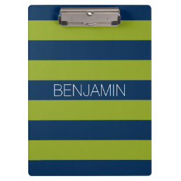 Navy Blue and Lime Green Rugby Stripes Custom Name Clipboard