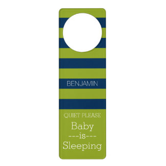 Navy Blue and Lime Green Rugby Stripes Custom Name Door Hanger