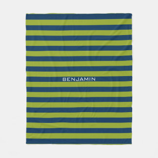 Navy Blue and Lime Green Rugby Stripes Custom Name Fleece Blanket