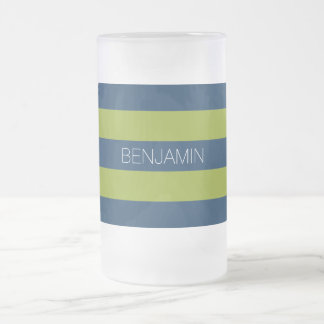 Navy Blue and Lime Green Rugby Stripes Custom Name Frosted Glass Beer Mug
