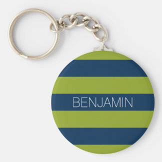 Navy Blue and Lime Green Rugby Stripes Custom Name Keychain