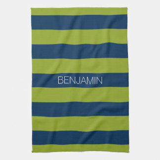 Navy Blue and Lime Green Rugby Stripes Custom Name Towel