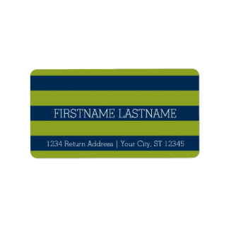 Navy Blue and Lime Green Rugby Stripes Custom Name Label