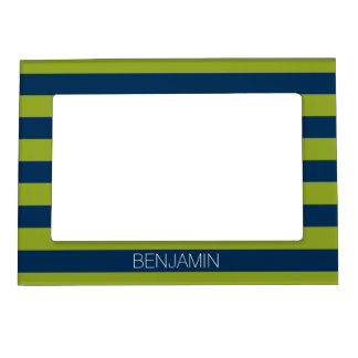 Navy Blue and Lime Green Rugby Stripes Custom Name Magnetic Picture Frame