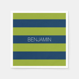 Navy Blue and Lime Green Rugby Stripes Custom Name Paper Napkin