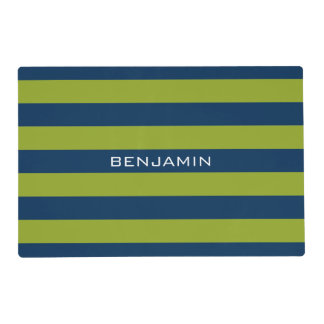 Navy Blue and Lime Green Rugby Stripes Custom Name Placemat
