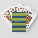 "Navy Blue and Lime Green Rugby Stripes Custom Name Playing Cards<br><div class=""desc"">Dark Blues and a vibrant pistachio green -- A manly pattern for the guys and boys in your family. A bold and modern design with an area for customized text. If you need to adjust the artwork or change the font, you can click on the customize area. This will take...</div>"