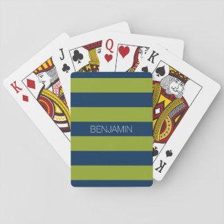 Navy Blue and Lime Green Rugby Stripes Custom Name Playing Cards