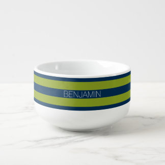 Navy Blue and Lime Green Rugby Stripes Custom Name Soup Mug