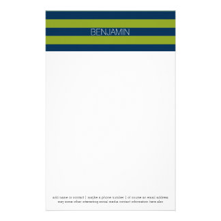 Navy Blue and Lime Green Rugby Stripes Custom Name Stationery