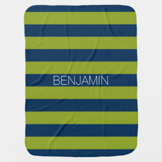 Navy Blue and Lime Green Rugby Stripes Custom Name Swaddle Blanket