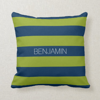 Navy Blue and Lime Green Rugby Stripes Custom Name Throw Pillow