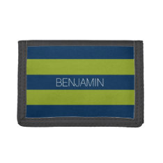 Navy Blue And Lime Green Rugby Stripes Custom Name Trifold Wallet at Zazzle