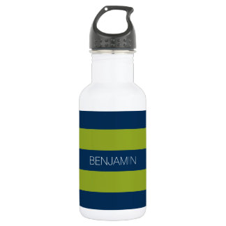 Navy Blue and Lime Green Rugby Stripes Custom Name Water Bottle