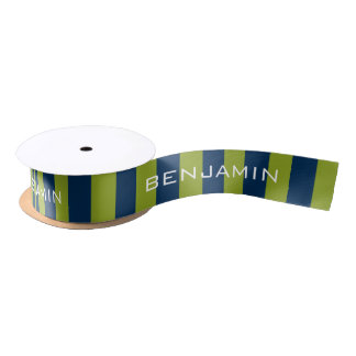 Navy Blue and Lime Green Rugby Stripes Custom Name Satin Ribbon
