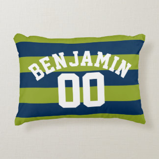 Navy Blue and Lime Green Rugby Stripes Name Number Decorative Pillow
