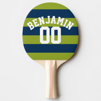 Navy Blue and Lime Green Rugby Stripes Name Number Ping-Pong Paddle