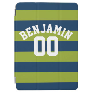 Navy Blue and Lime Green Rugby Stripes Name Number iPad Air Cover