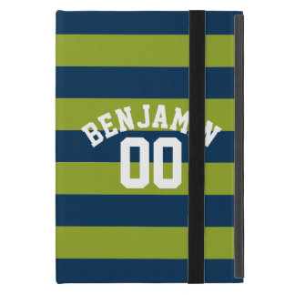 Navy Blue and Lime Green Rugby Stripes Name Number iPad Mini Cover