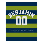 Navy Blue and Lime Green Rugby Stripes Name Number Posters