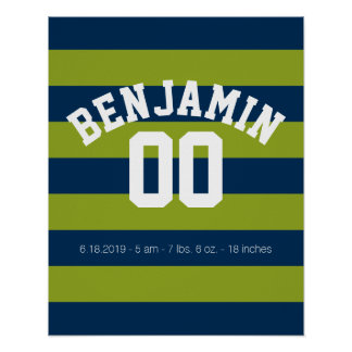 Navy Blue and Lime Green Rugby Stripes Name Number Poster