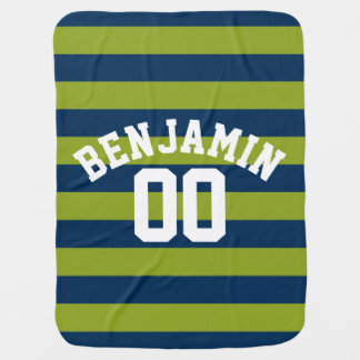 Navy Blue and Lime Green Rugby Stripes Name Number Receiving Blanket