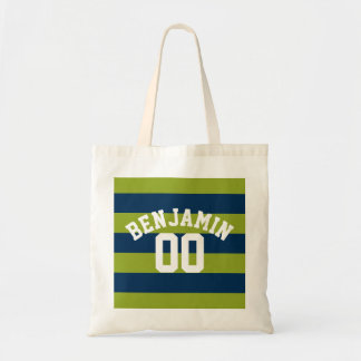 Navy Blue and Lime Green Rugby Stripes Name Number Tote Bag
