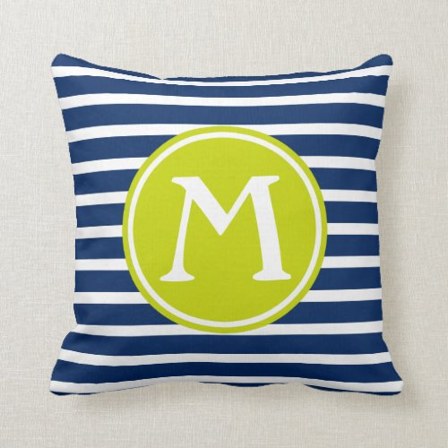 Navy Blue and Lime Green Stripe Monogram Throw Pillow