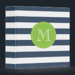 """Navy Blue and Lime Green Stripes Custom Monogram 3 Ring Binder<br><div class=""""desc"""">Cute,  chic navy blue and lime green bold stripes custom monogram binder. Perfect for school,  work,  and home! Change the font style and color by clicking on the &quot;Customize It&quot; button below the product image.</div>"""