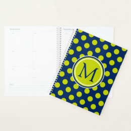 Navy Blue and Lime Polka Dot Monogram Planner