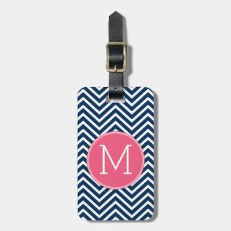Navy Blue and Magenta Chevrons Custom Monogram Bag Tag