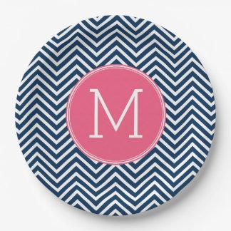Navy Blue and Magenta Chevrons Custom Monogram Paper Plate