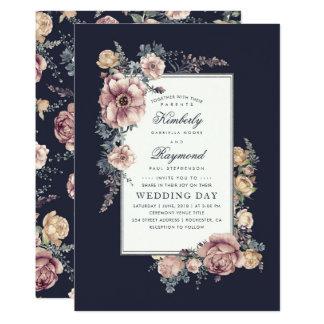 Navy Blue and Mauve Vintage Floral Wedding Invitation