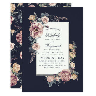 Navy Blue and Mauve Vintage Floral Wedding Invitation