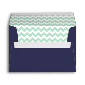 Navy Blue and Mint Chevron Print Envelope