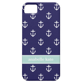 Navy Blue and Mint Cute Anchors Custom Monogram iPhone SE/5/5s Case