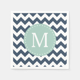 Navy Blue and Mint Green Chevron Custom Monogram Napkin