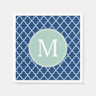 Navy Blue and Mint Green Quatrefoil Monogram Paper Napkin