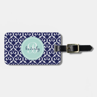 Navy Blue and Mint Heartlocked Print Bag Tags