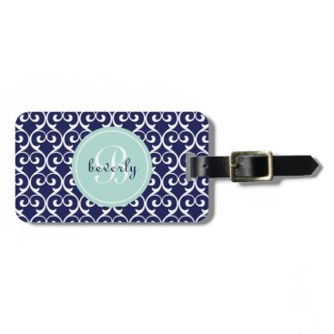heartlocked Navy Blue and Mint Heartlocked Print Luggage Tag