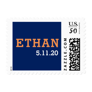 Navy blue and orange bar mitzvah postage stamp