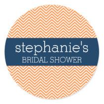 Navy Blue and Orange Chevron Pattern Bridal Shower Classic Round Sticker