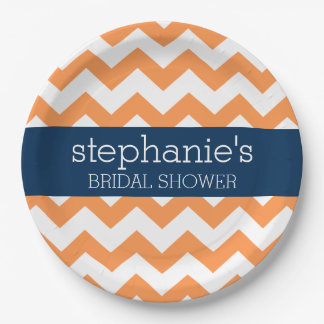 Navy Blue and Orange Chevron Pattern Bridal Shower Paper Plate