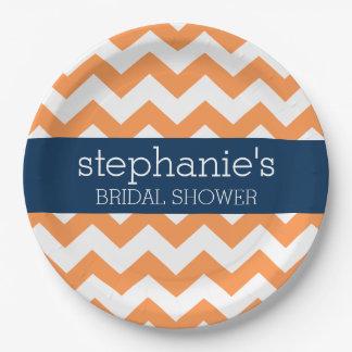 Navy Blue and Orange Chevron Pattern Bridal Shower Paper Plate