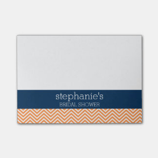 Navy Blue and Orange Chevron Pattern Bridal Shower Post-it® Notes