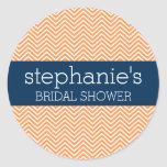Navy Blue and Orange Chevron Pattern Bridal Shower Round Sticker