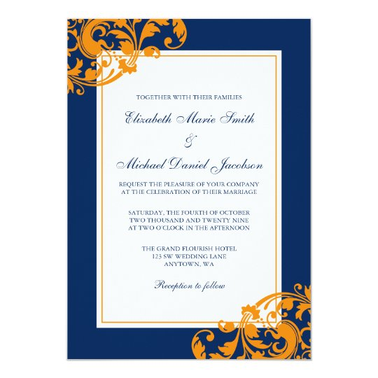 Navy Blue And Orange Flourish Swirls Wedding Invitation