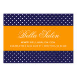 Navy Blue and Orange Modern Polka Dots Large Business Card