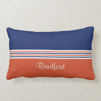 Navy Blue and Orange Personalizable Lumbar Pillow